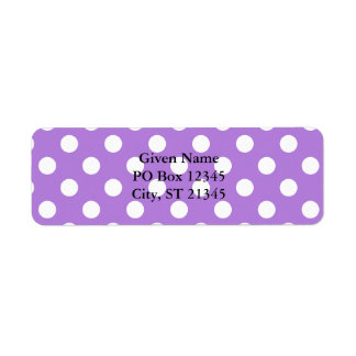 Lavender and White Polka Dots Return Address Label