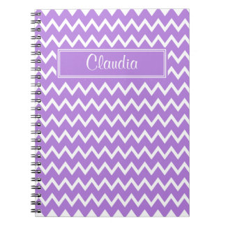 Lavender and White Zigzag Pattern Spiral Notebook