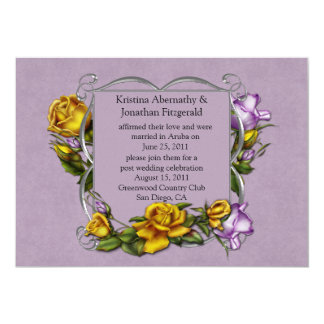Lavender and Yellow Roses Post Wedding Invitation