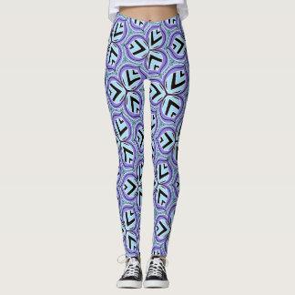 Lavender aqua geometric leaf printed leggings