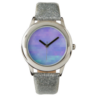 Lavender aqua & purple abstract triangle mosaic watches