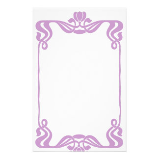 Lavender Art Nouveau Border Stationary Stationery
