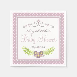 Lavender Baby Shower- Floral Wreath Disposable Napkin