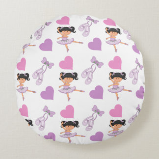 Lavender Ballerina Heart Pattern Round Cushion