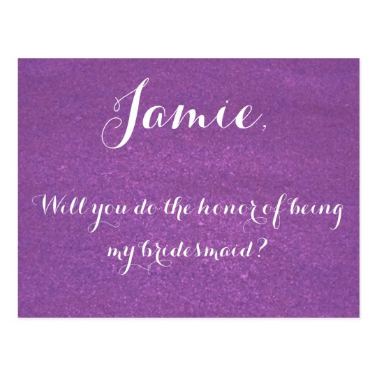 Lavender be my bridesmaid invitation postcard