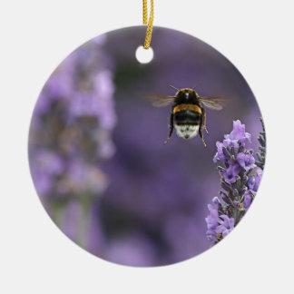 Lavender bee round ceramic decoration