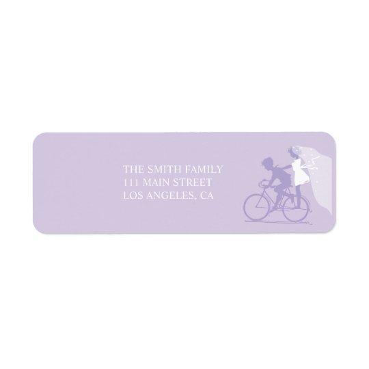 Lavender Bicycle Couple Wedding Return Address Return Address Label