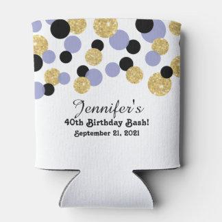 Lavender, Black and Gold Glitter Confetti | 40th Can Cooler