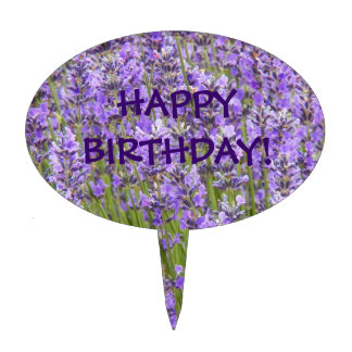 Lavender Blooms Floral Birthday Cake Topper