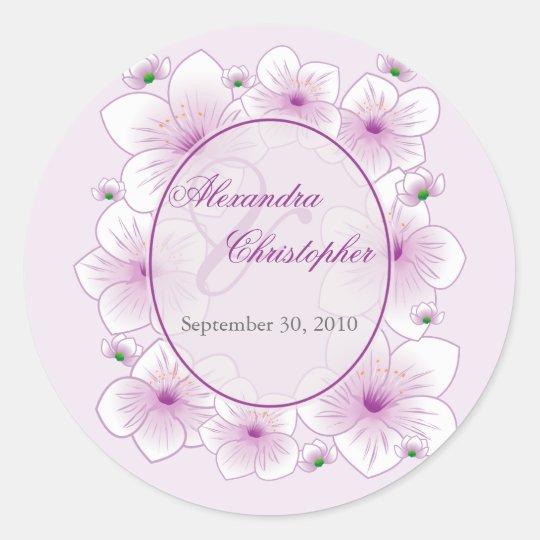 Lavender Blossom Flowers Romantic Wedding Favour Classic Round