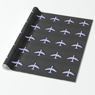 Lavender Blue Airplane Wrapping Paper
