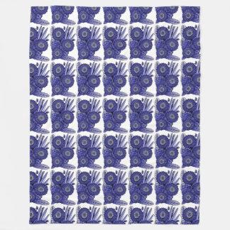 Lavender Blue Gerbera Daisy Flower Bouquet Fleece Blanket