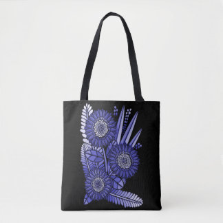 Lavender Blue Gerbera Daisy Flower Bouquet Tote Bag
