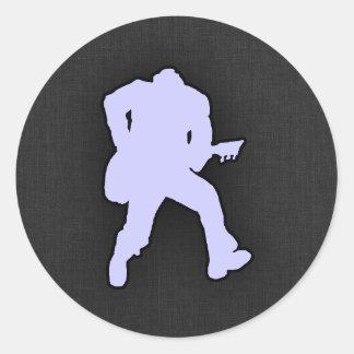 Lavender Blue Guitar Player Round Sticker