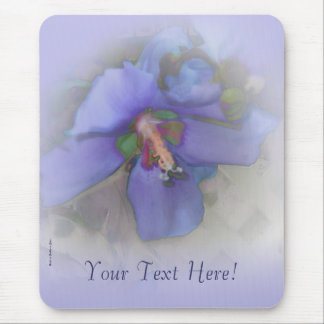 Lavender Blue Hibiscus Mouse Pad