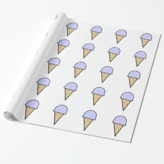 Lavender Blue Ice Cream Cone Wrapping Paper