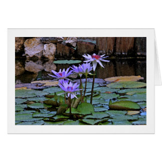 """LAVENDER-BLUE LOTUS BLOSSOMS AND LILY PADS"" CARD"