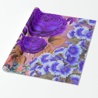 Lavender Blue Roses Wrapping Paper