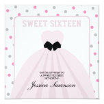 Lavender Blush Gown Sweet Sixteen with polka dots Personalised Invitations