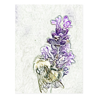 Lavender Bumblebee Pencil Postcard