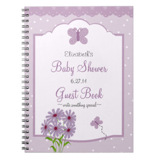 Lavender Butterfly-Baby Shower Guest Book- Spiral Notebook