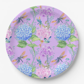 Lavender Butterfly & Dragonfly Floral Paper Plate