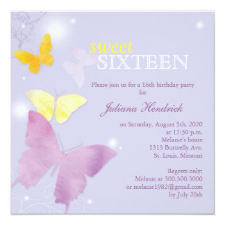 Lavender Butterfly Sweet 16 Birthday Party 13 Cm X 13 Cm Square Invitation Card