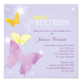 Lavender Butterfly Sweet 16 Birthday Party Invites