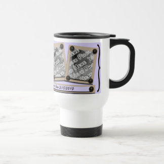 Lavender Buttons & Brackets Travel Mug