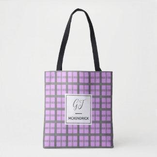 Lavender Check Tote Bag
