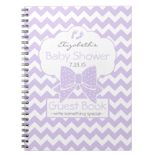 Lavender Chevron Baby Shower Guest Book- Notebook