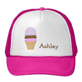 Lavender Chevron Stripes; Ice Cream Cone Trucker Hat