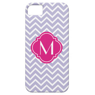 Lavender Chevron Zigzag Stripes with Monogram iPhone 5 Case