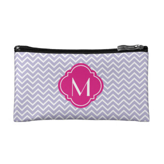 Lavender Chevron Zigzag Stripes with Monogram Makeup Bag