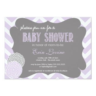 Lavender Chic Chevron Baby Shower Invitation