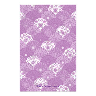 Lavender Classic Japanese Chrysantemum Pattern Personalised Stationery
