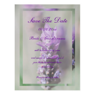 Lavender classy purple wedding save the date postcard