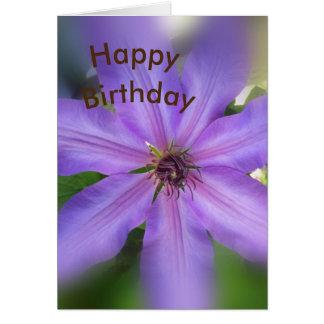 Lavender Clematis Birthday Card