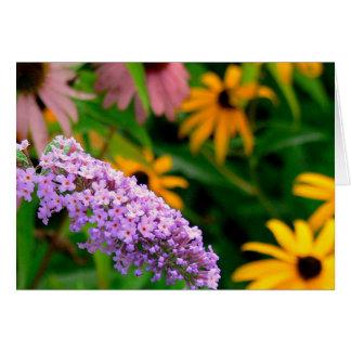 LAVENDER COLORED FLOWER AMONG BLACK-EYED SUSANS NOTE CARD
