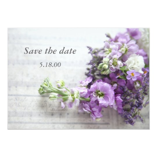 lavender-coloured flowers on music save the date card