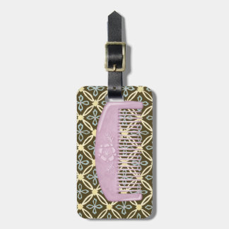 Lavender Comb on Chocolate Background Luggage Tag