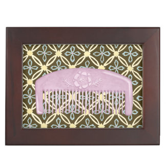 Lavender Comb on Chocolate Background Memory Box