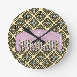 Lavender Comb on Chocolate Background Round Clock