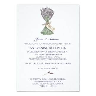 Lavender Country Garden Wedding Evening Invitation