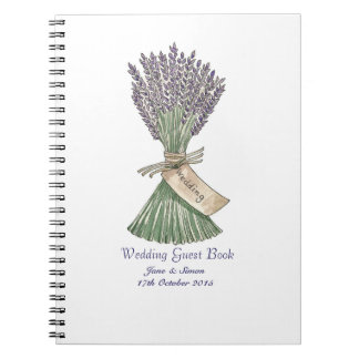 Lavender Country Garden Wedding GuestBook/Notebook Spiral Notebook