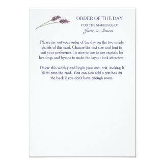 Lavender Country Garden Wedding - Order of the Day 13 Cm X 18 Cm Invitation Card