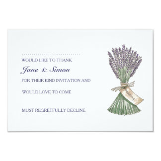 Lavender Country Garden Wedding RSVP card