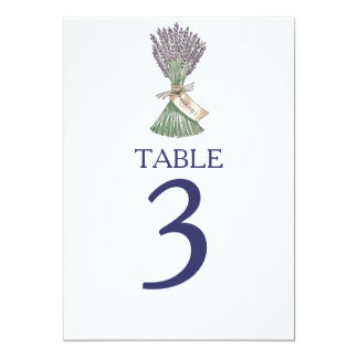 Lavender Country Garden Wedding Table Numbers Card