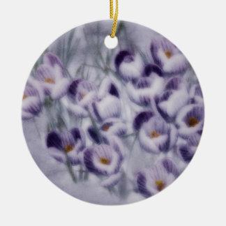 Lavender Crocus Patch Round Ceramic Decoration