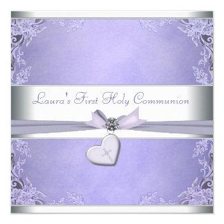 Lavender Cross Girls Purple First Communion 13 Cm X 13 Cm Square Invitation Card